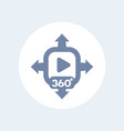 360 degrees video content icon vector image