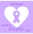 Lavender ribbon heart epilepsy cancer solidarity vector image