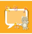 Background photo frame with little cute baby cat vector image
