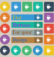 Coffee cup sign Set of twenty colored flat round vector image