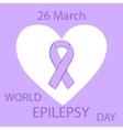 Lavender ribbon heart epilepsy cancer solidarity vector image