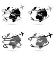 travel with airplane around the world vector image