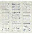 Set of Pen Drawing Arrow Shaped Elements vector image