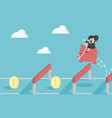 Jumping over hurdle vector image