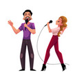 man and woman couple singing together karaoke vector image