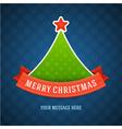 Christmas green tree and ribbon vector image