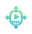360 degrees video icon on white vector image