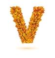 Autumn fall bright orange leaves letter vector image