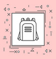 backpack icon thin line in pink frame vector image