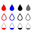 drop set blood water oil and grey color drop vector image