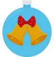 golden christmas bells with a red bow cartoon vector image
