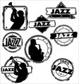 grunge jazz musician stamps vector image