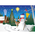 Snowman in Christmas scene vector image vector image