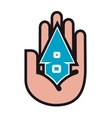House in people hands vector image