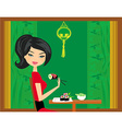 beautiful girl enjoy sushi vector image