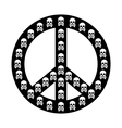 Peace sign isolated with white skull anti war vector image