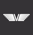 V - letter with wings black and white background vector image vector image