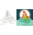 mermaid night at stone vector image