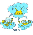 sketch wi-fi connect pc computer mobile device vector image
