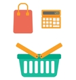 Calculator shopping basket and bag vector image