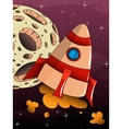 cartoon rocket spaceship with space background vector image