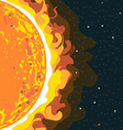 Hot sun view in section with heat and radiation vector image
