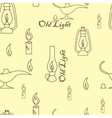 Old light sources seamless pattern on beige yellow vector image