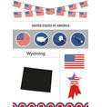 map of wyoming set of flat design icons vector image