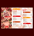 menu template for fresh meat restaurant vector image