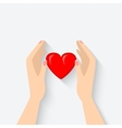 heart in hands symbol vector image