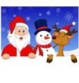 Santa Claus nosed reindeer and snowman with blank vector image vector image