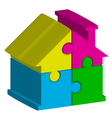 3d house from puzzles vector image