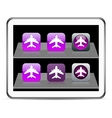 Aircraft purple app icons vector image