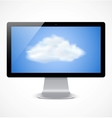 Computer display with cloud icon vector image