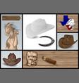 designer set for cowboy vector image