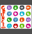 food and kitchen icons set in grunge style vector image