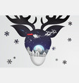 paper art and craft of christmas with reindeer vector image