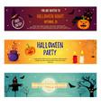 set of halloween banners with halloween characters vector image