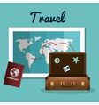 travel suitcase passport and map vacation design vector image