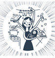 woman icon with the child black and white vector image