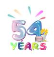 54 th birthday celebration greeting card vector image