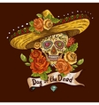 Floral Background with Skull in Sombrero vector image