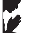 Guy praying silhouette vector image