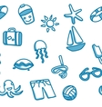 Seamless patten with beach elements vector image