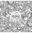Cartoon doodles fast food frame design vector image