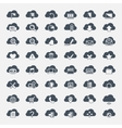 Big set of forty-six black cloud shapes with icons vector image