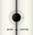 Cup of coffee on a opened book vector image