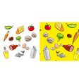 food and drink icon set and seamless vector image