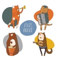 Set of fun cats playing musical instruments - drum vector image