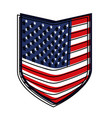 shield of flag united states of america colorful vector image